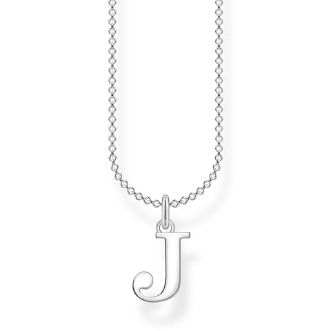 STERLING SILVER CHARMING COLLECTION LETTER 'J' NECKLACE 38-45CM