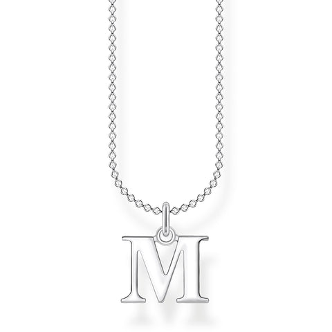 STERLING SILVER CHARMING COLLECTION LETTER 'M' NECKLACE 38-45CM