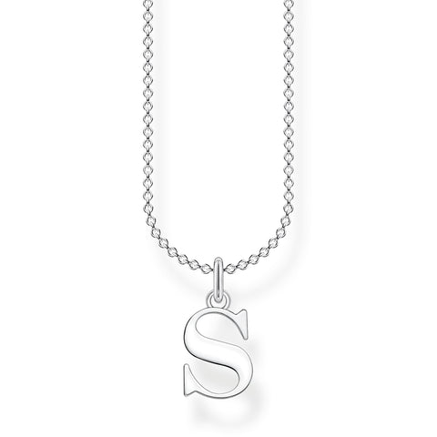STERLING SILVER CHARMING COLLECTION LETTER 'S' NECKLACE 38-45CM