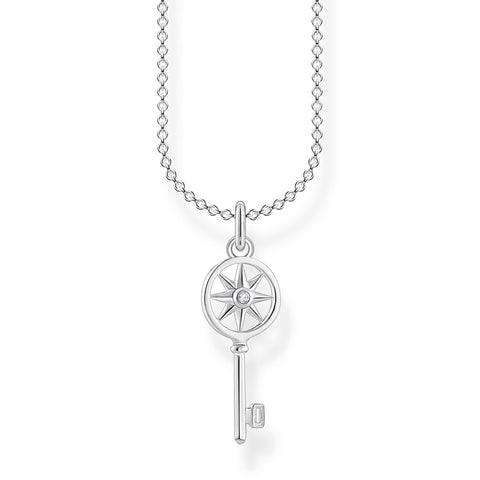 STERLING SILVER CHARMING COLLECTION CZ KEY NECKLACE 38-45CM