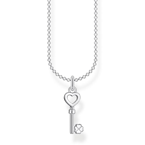 STERLING SILVER CHARMING COLLECTION LUCKY HEART KEY NECKLACE 38-45CM