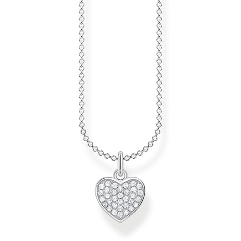 STERLING SILVER CHARMING COLLECTION CZ PAVE HEART NECKLACE 38-45CM