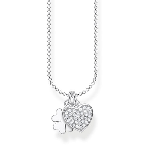 STERLING SILVER CHARMING COLLECTION CZ HEART & CLOVER NECKLACE 38-45CM