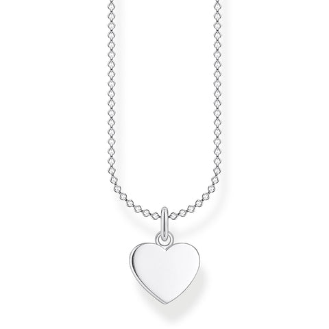 STERLING SILVER CHARMING COLLECTION LARGE HEART NECKLACE 38-45CM