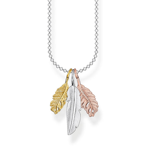 STERLING SILVER CHARMING COLLECTION TRI COLOUR FEATHER NECKLACE 38-45CM
