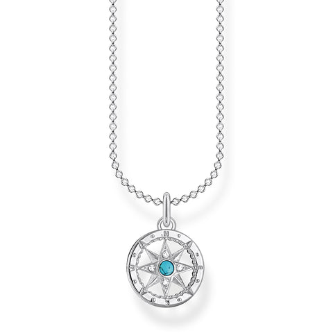 STERLING SILVER CHARMING COLLECTION COMPASS NECKLACE 38-45CM