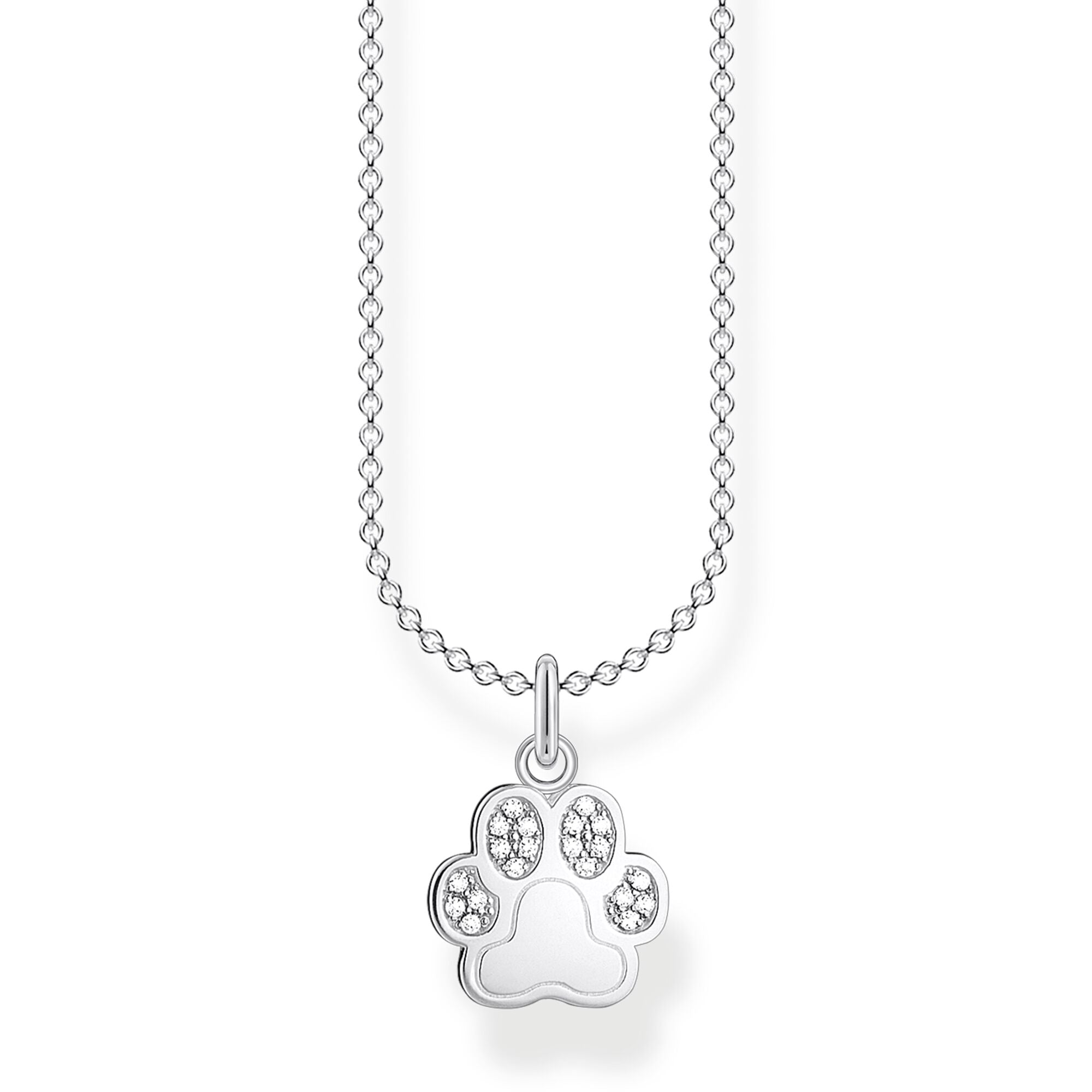 STERLING SILVER CHARMING COLLECTION PAW PRINT NECKLACE 38-45CM