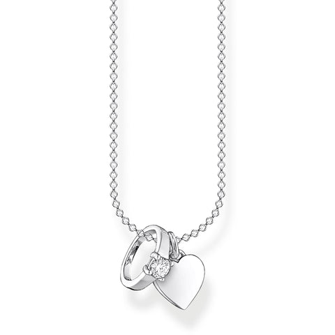 STERLING SILVER CHARMING COLLECTION RING & HEART NECKLACE 38-45CM