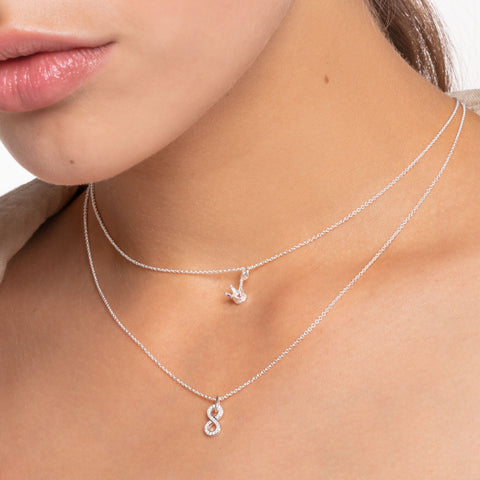 STERLING SILVER CHARMING COLLECTION INFINITY NECKLACE 38-45CM