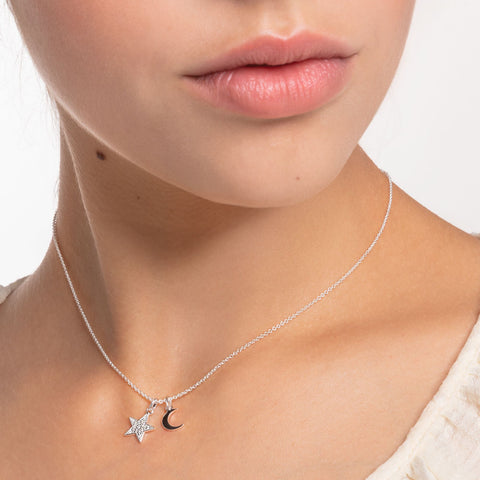STERLING SILVER CHARMING COLLECTION STAR & MOON NECKLACE 38-45CM