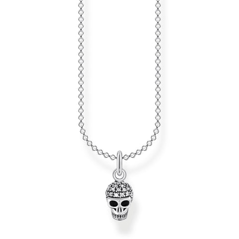 STERLING SILVER CHARMING COLLECTION CZ SKULL NECKLACE 38-45CM