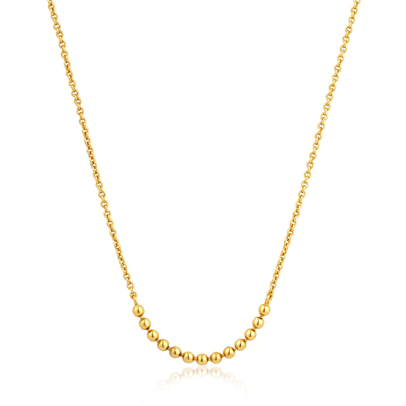 STERLING SILVER YELLOW GOLD PLATED MODERN MULTIPLE BALLS NECKLACE