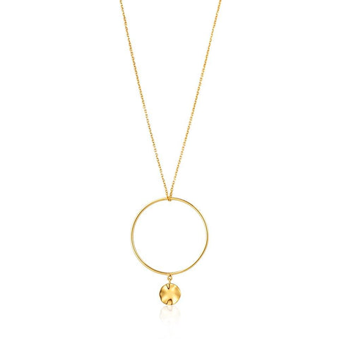 STERLING SILVER YELLOW GOLD PLATED TEXTURE MIX DOUBLE CIRCLE NECKLACE