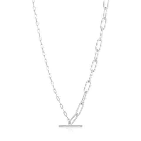 STERLING SILVER CHAIN REACTION MIXED LINK T-BAR NECKLACE