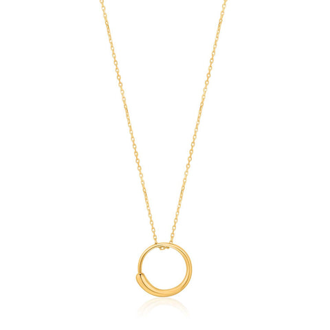 STERLING SILVER YELLOW GOLD PLATED LUXE MINIMALISM LUXE CIRCLE NECKLACE