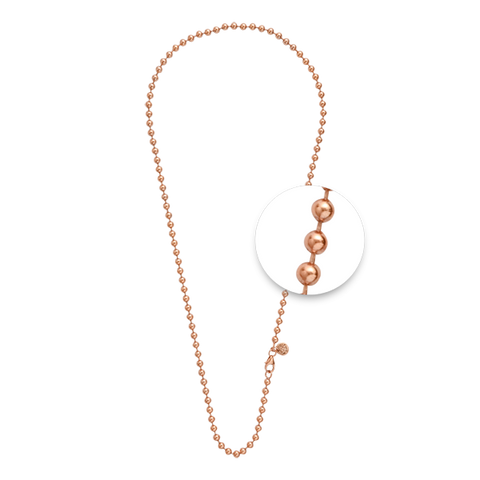 ROSE GOLD PLATED BALL CHAIN NECKLET 70CM