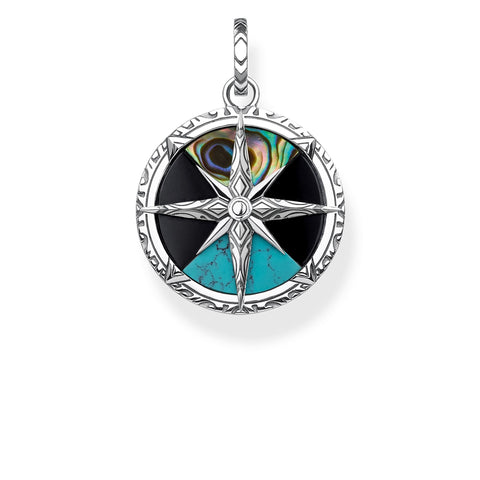 STERLING SILVER ARIZONA STONE COMPASS PENDANT