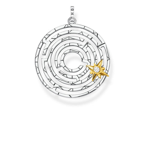 STERLING SILVER YELLOW GOLD PLATED LABYRINTH STAR PENDANT