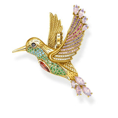 STERLING SILVER YELLOW GOLD PLATED MAGIC GARDEN HUMMINGBIRD PENDANT