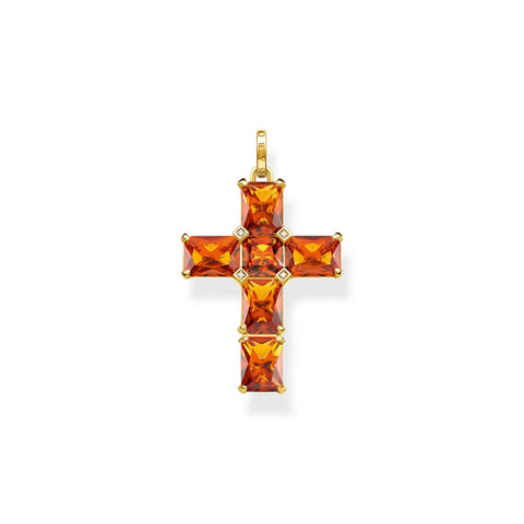STERLING SILVER YELLOW GOLD PLATED MAGIC STONES COGNAC SMALL CROSS PENDANT