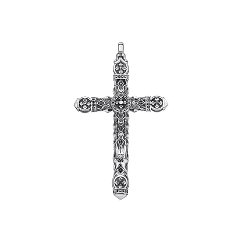 STERLING SILVER KINGDOM BLACK CZ DECO CROSS PENDANT