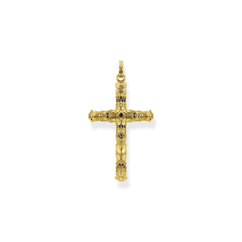 STERLING SILVER YELLOW GOLD PLATED REBEL ART DECO BLACK CZ CROSS PENDANT