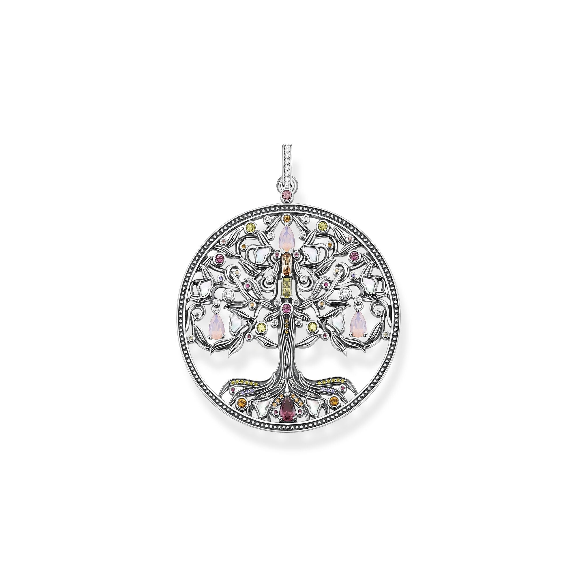 STERLING SILVER TREE OF LOVE EMBELLISHED PENDANT