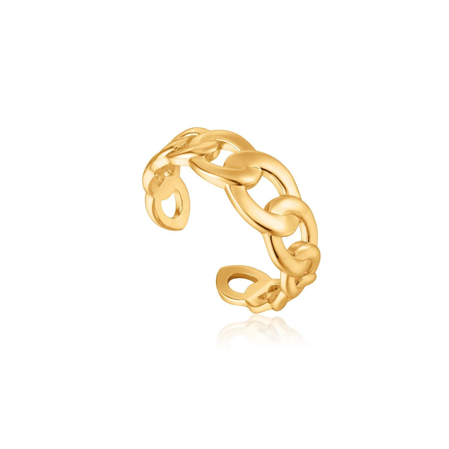 STERLING SILVER YELLOW GOLD PLATED CHAIN REACTION CURB CHAIN ADJUSTABLE RING