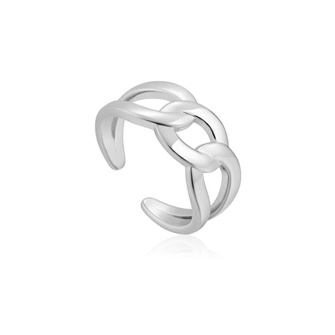 STERLING SILVER CHAIN REACTION WIDE CURB CHAIN ADJUSTABLE RING
