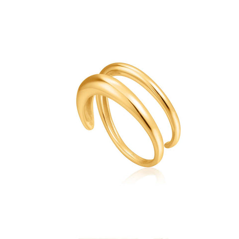 STERLING SILVER YELLOW GOLD PLATED LUXE MINIMALISM LUXE TWIST RING