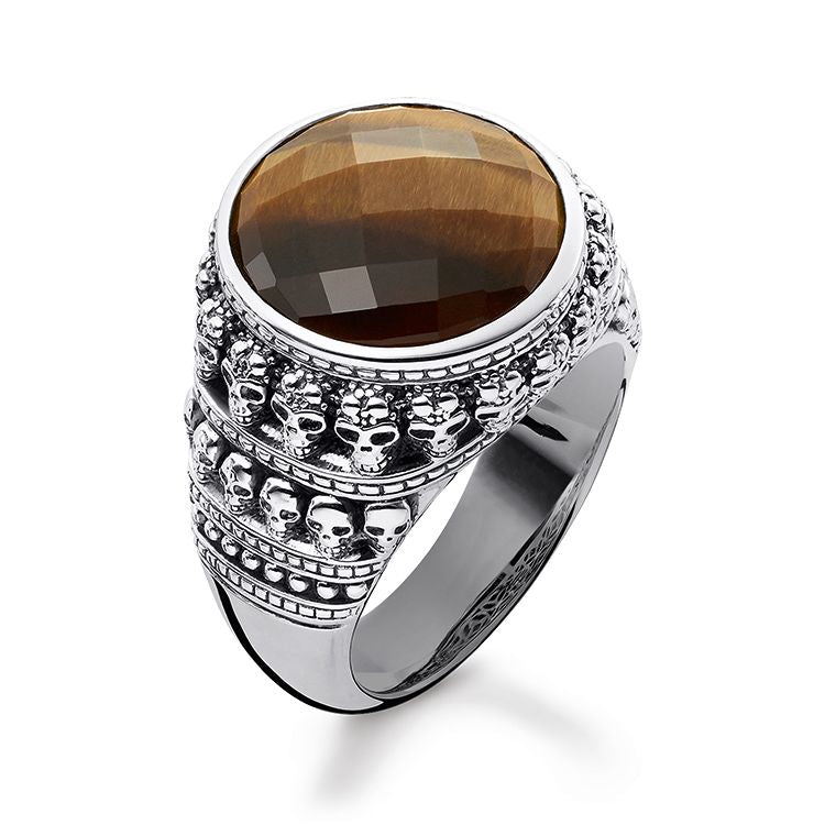 STERLING SILVER MINI SKULLS TIGERS EYE SIGNET RING SIZE 58