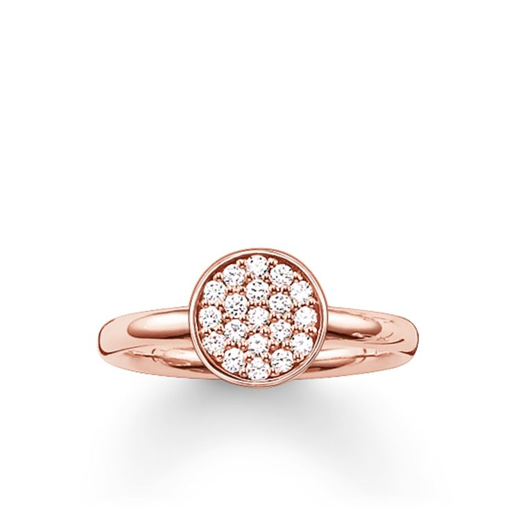 STERLING SILVER ROSE GOLD PLATED CIRCLES PAVE CZ RING SIZE 52