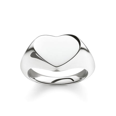 STERLING SILVER HEART SIGNET RING SIZE 54