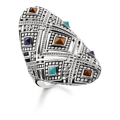 STERLING SILVER AFRICAN WEAVE COLOURS RING SIZE 56