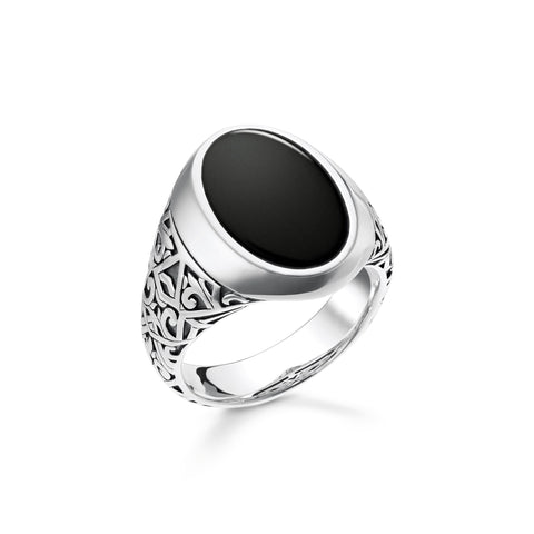 GENTS STERLING SILVER BLACK ONYX ENGRAVED SIGNET RING SIZE 66