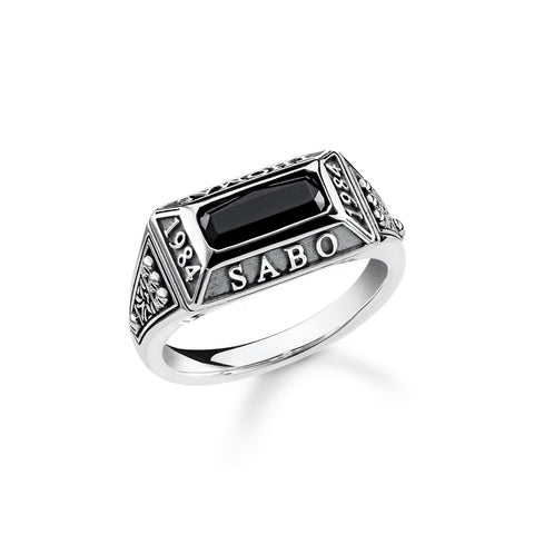 GENTS STERLING SILVER THOMAS SABO 1984 ONYX SIGNET RING SIZE 62