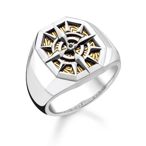 STERLING SILVER COMPASS TWO TONE SIGNET RING SIZE 56