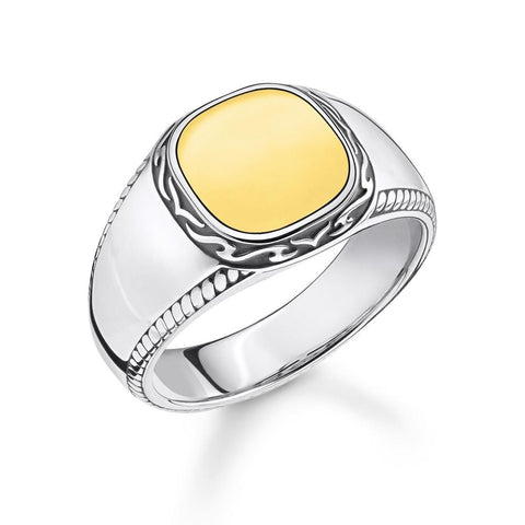 GENTS STERLING SILVER & YELLOW GOLD PLATED POLISHED TWO TONE SIGNET RING SIZE 62