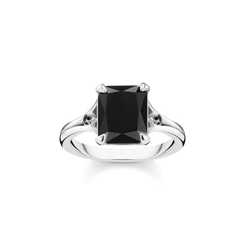 STERLING SILVER MAGIC STONES BLACK ONYX RING SIZE 52