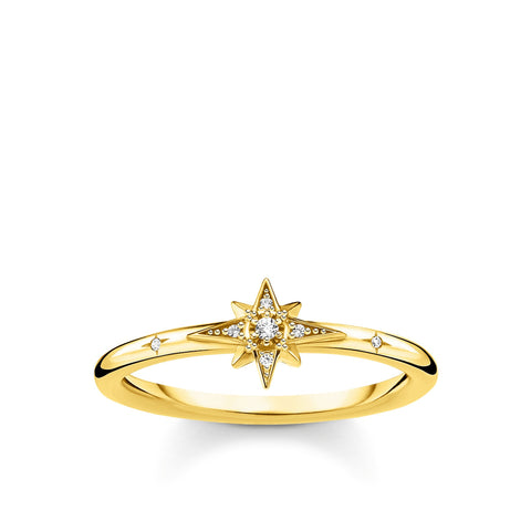 STERLING SILVER YELLOW GOLD PLATED CHARMING COLLECTION CZ STAR RING SIZE 54