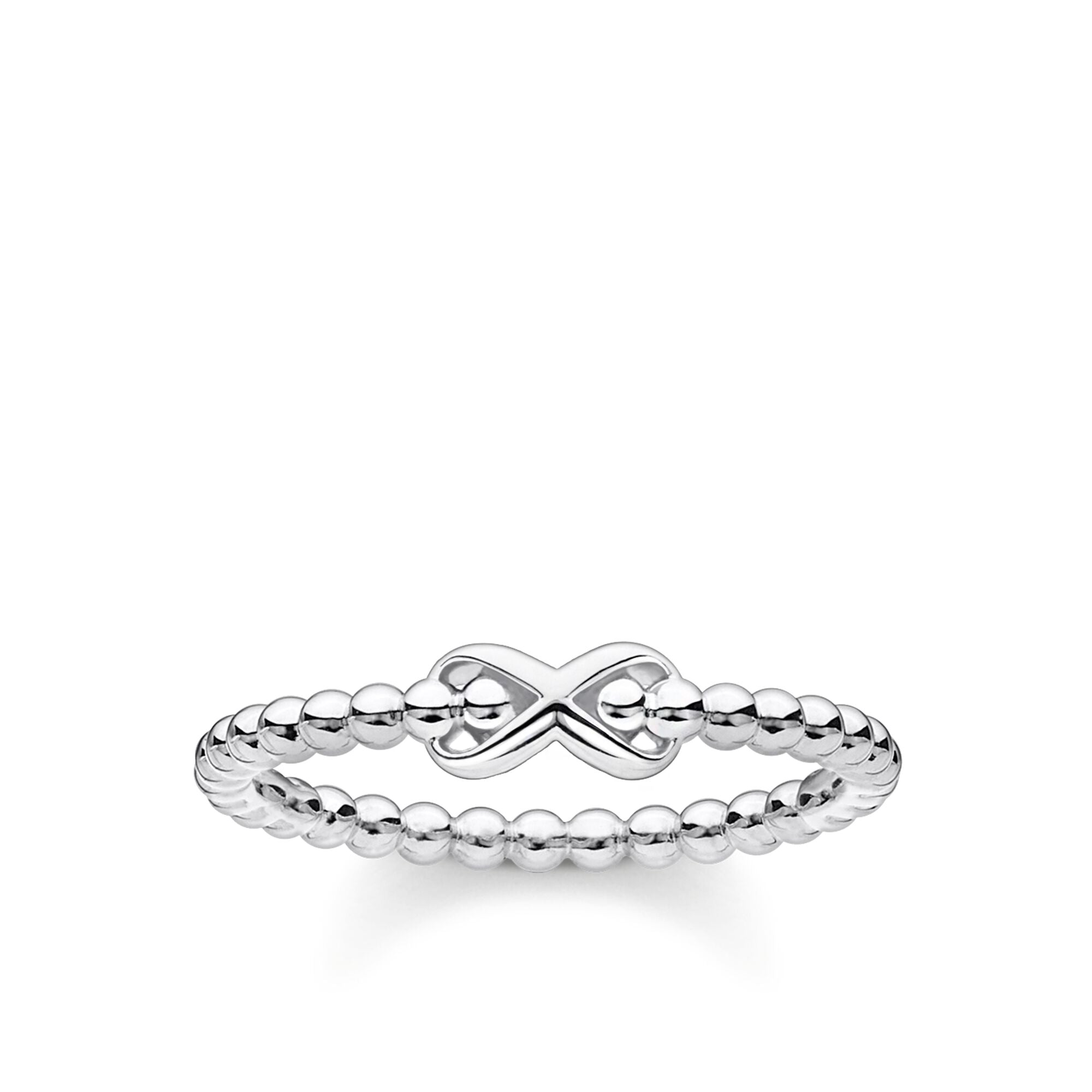 STERLING SILVER CHARMING COLLECTION INFINITY BEADED RING SIZE 58