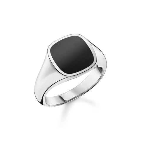 GENTS STERLING SILVER REBEL ONYX SQUARE SIGNET RING SIZE 64