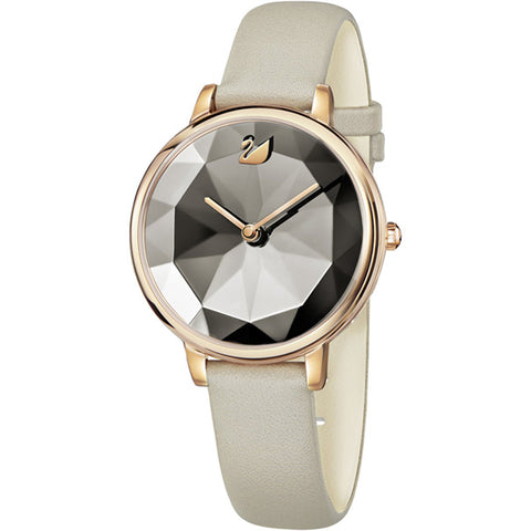 CRYSTAL LAKE WATCH, LEATHER STRAP, GREY - ROSE-GOLD TONE