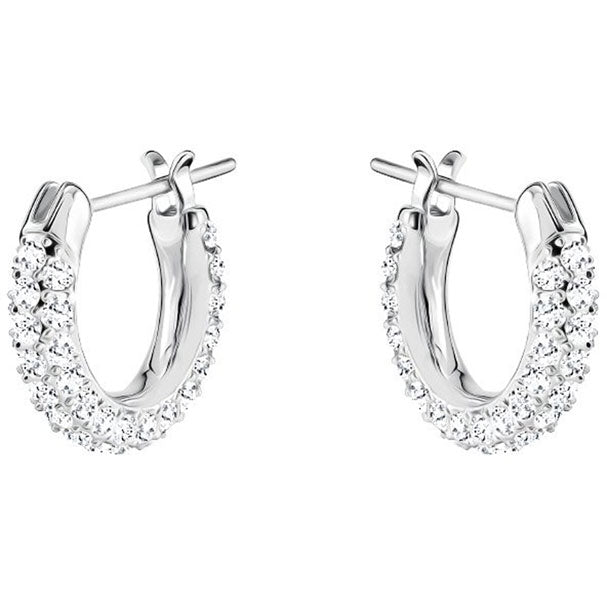 STONE PIERCED EARRINGS, WHITE, RHODIUM PLATING