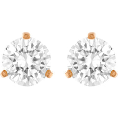 Solitaire Pierced Earrings, White, Rose Gold Plating