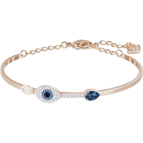 DUO EVIL EYE BANGLE - MIXED METAL FINISH