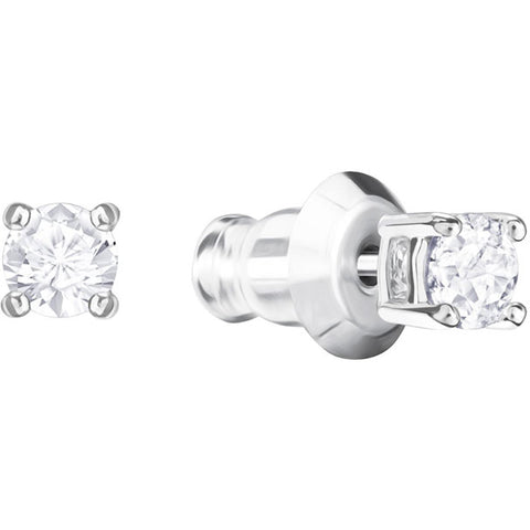 ATTRACT ROUND PIERCED EARRINGS - RHODIUM PLATING