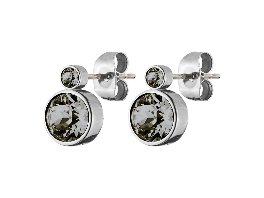 LONDON SHINY SILVER GREY EARRINGS