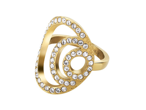 NEDA SHINY GOLD CRYSTAL RING - SIZE II