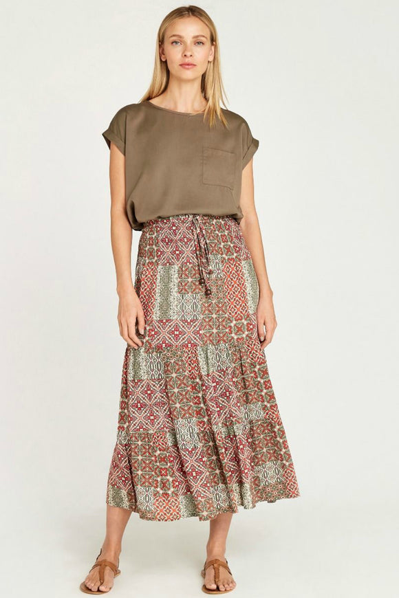 Geo Tile Print 2in1 Skirt | Apricot